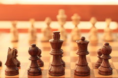 Chess. Wooden chess prepared for game Royalty Free Stock Image