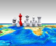 Chess on the world - 3D Royalty Free Stock Images