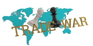Chess and world map concept of trade war 3D illustration royalty free illustration