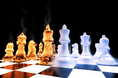 Chess03. Fire and Ice battle on a chess board Royalty Free Stock Photo