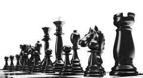 Chess2. Black chess figures on a white background Stock Image