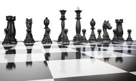 Chess3 black line. Black chess figures in start position on a white background Royalty Free Stock Images