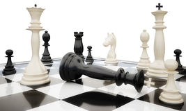 Chess6_prostrate king. Black king is defeated before white figures Stock Photos