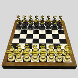 Chessboard. On Which Instead Of Chessmen There Are Dollar And Euro. 3d Render Royalty Free Stock Photo