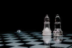 On chessboard. Two glass chess  figures  on chessboard Royalty Free Stock Images