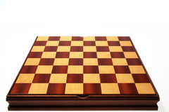 Chessboard. Empty wood chessboard on white Stock Photography