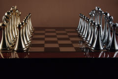 Chessboard. The photo shows the chessboard with metal figures Stock Images