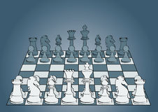 Chessboard. With pieces (beginning party Royalty Free Stock Photo