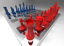 Chessboard. Glass Chessboard Wide Angle Rendering with Red and Blue Chess Pieces Royalty Free Stock Photo