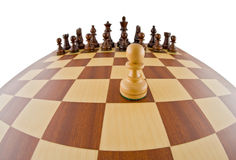 Chessboard. Fisheye view of a chessboard. The chessboard is isolated on white and a clipping path is provided for easy extraction Royalty Free Stock Photos