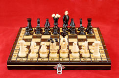 Chessboard before the battle stock images