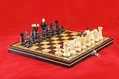Chessboard before the battle royalty free stock photo