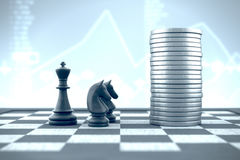 Chessboard, black king and knight on blue financial background Royalty Free Stock Photo