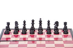 Chessboard with black pieces Stock Photos