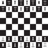 Chessboard with black and white oposite chess pieces Stock Photos