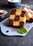 Chessboard cake with coconut filing Stock Photos