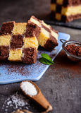 Chessboard cake with coconut filing Stock Images