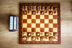 Chessboard with chess and clock Royalty Free Stock Photography