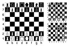 Chessboard and chess. Figures set collection on white background. Items for intellectual strategic game. Easy to edit different combination Stock Photo