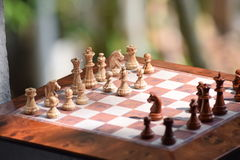 Chessboard. Chess is a game involving right moves at the right time. It is a metaphor for clever moves, especially in political or business spheres Royalty Free Stock Photo