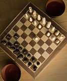 Chessboard with chess piece. On start position Royalty Free Stock Photos