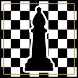 Chessboard with a chess piece Bishop and a gold frame. Tradition. Al Christmas holiday game. Vector Stock Photo
