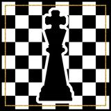 Chessboard with a chess piece King and a gold frame. Traditional. Christmas holiday game. Vector Royalty Free Stock Image