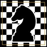 Chessboard with a chess piece Knight and a gold frame. Tradition. Al Christmas holiday game. Vector Royalty Free Stock Photography