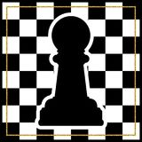 Chessboard with a chess piece Pawn and a gold frame. Traditional. Christmas holiday game. Vector Stock Photos