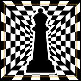 Chessboard with a chess piece Queen and a gold frame. Traditional holiday game Stock Images