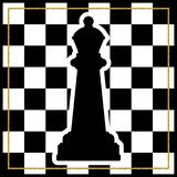 Chessboard with a chess piece Queen and a gold frame. Traditiona. L Christmas holiday game. Vector Stock Photo