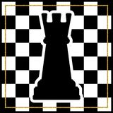 Chessboard with a chess piece Rook and a gold frame. Traditional. Christmas holiday game. Vector Royalty Free Stock Photo
