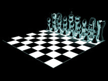 Chessboard and chess pieces Stock Photo