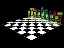 Chessboard with chess pieces Stock Image