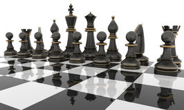 Chessboard. Chess table with metal Chess figures.  on white. Three Dimensional rendering Stock Images