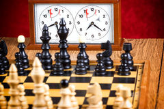 Chessboard with chessmen Stock Image