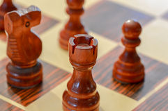 Chessboard with tower in focus Royalty Free Stock Image