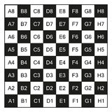 Chessboard with coordinates, isolated on white. Chessboard with coordinates illustration, isolated on white Royalty Free Stock Photos