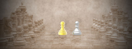 Chessboard - 3D render Stock Images