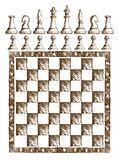 Chessboard Drawing with figures. Royalty Free Stock Photography