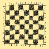 Chessboard drawing. Chessboard freehand drawing imitation, vector illustration Stock Photos