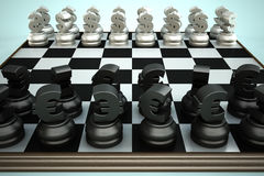 Chessboard with Euro and Dollar currency symbols Royalty Free Stock Photos