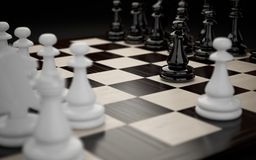Chessboard with figures. Close-up. First move Stock Photos