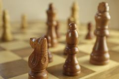 Chessboard with figures. Chessboard with fuzzy figurines, black and white Stock Image