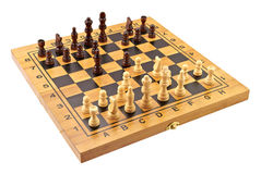 Chessboard with figures in progress Stock Photo