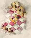 Chessboard with figures. Watercolor background Stock Images