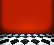Chessboard Floor Tiles in Red Room Stock Photography
