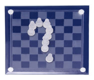 Chessboard from glass chess. On white background Royalty Free Stock Photos