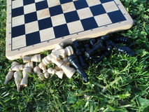 Chessboard on the grass. Wooden chess board with chess pieces on the grass Royalty Free Stock Photo