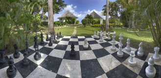 Chessboard in a hotel garden in Jamaica stock photos